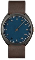 Slow O 14 - Dark Brown Vintage Leather Anthracite Case Blue Dial Unisex Quartz Watch with Blue Dial Analogue Display and Dark Brown Leather Strap