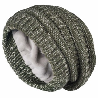 Camptrace Winter Beanie Hats for Women Cable Knit Fleece Lining Warm Hats Slouchy Thick Skull Cap - - One Size