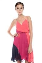 Wendy Katlen Color-Block Pleat Dress