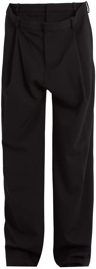 Y/Project Layered-waistband wool-blend trousers
