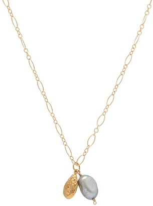 Alighieri The Solitary Tear at Dusk 24kt gold-plated necklace with pearls