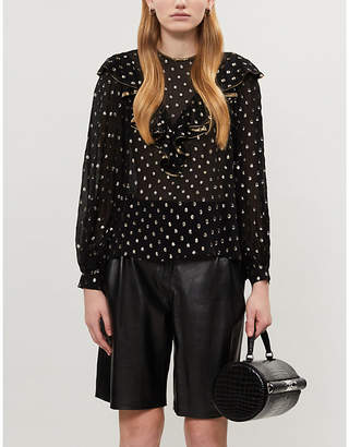 Sandro Lunea metallic polka-dot crepe blouse