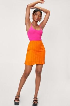 Nasty Gal Womens Broderie Mini Skirt - Yellow - 6