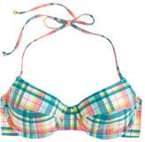 J.Crew Underwire halter bikini top in vintage plaid