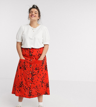 Wednesday's Girl Curve midi skirt in abstract animal