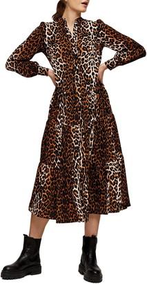 Topshop Leopard Print Tiered Long Sleeve Midi Shirtdress