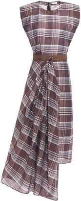 Brunello Cucinelli Asymmetric Draped Checked Cotton And Silk-blend Dress