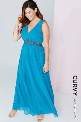 Little Mistress Curvy Turquoise Embellished Waist Maxi Dress