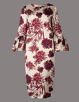 Autograph Satin Floral Print Shift Midi Dress