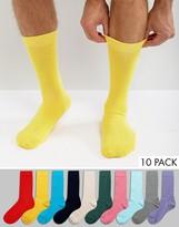 Asos Socks In Bright Colors 10 Pack