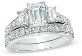 Zales 2-1/5 CT. T.W. Certified Emerald-Cut Diamond Three Stone Bridal Set in Platinum (H/SI2)
