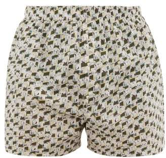 Sunspel Liberty Camera Print Cotton Boxer Shorts - Mens - White Multi