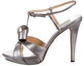 Badgley Mischka Metallic Bow Sandals