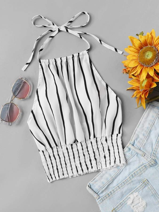 Striped Print Frill Hem Halter Top