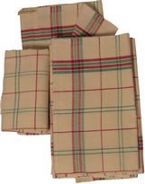 One Kings Lane Vintage French Hoiday Plaid Linen Tea Towels S/6
