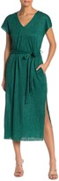 Lush V-Neck Plisse Slit Midi Dress