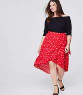LOFT Plus Floral Midi Wrap Skirt