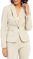 Calvin Klein Stretch Cotton Sateen Suiting Peak Lapel One-Button Jacket