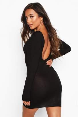 boohoo Petite Basic Long Sleeve Scoop Back Dress