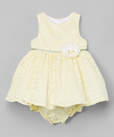 Laura Ashley Yellow Rose A-Line Dress & Diaper Cover - Infant