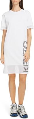 Kenzo Logo Mesh Trim Cotton T-Shirt Dress
