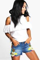Boohoo Laura Multi Colour Crochet Detail Denim Hotpants