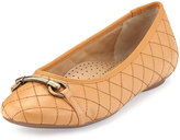 Neiman Marcus Suzy Quilted Nappa Ballet Flat, Camel