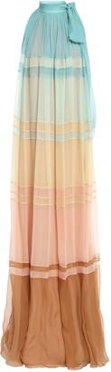 Alberta Ferretti Pussy-bow Gathered Color-block Silk-georgette Maxi Dress