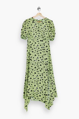 Topshop Green Daisy Print Ruched Sleeve Midi Dress