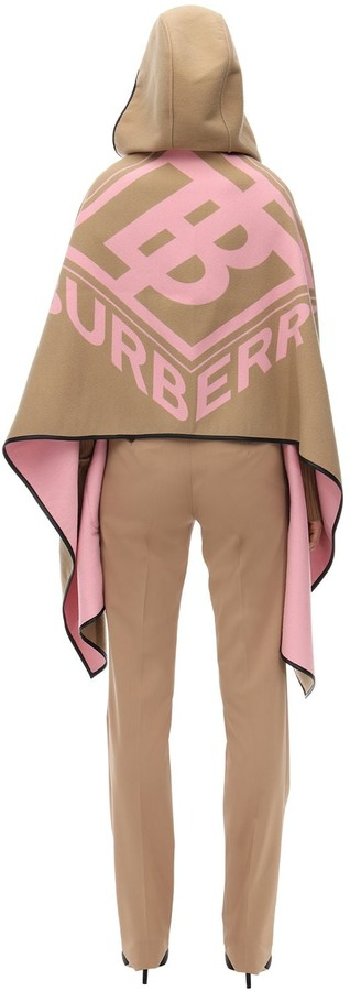 Burberry Hooded Wool & Cotton Cape W/logo