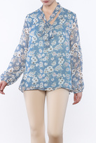 Umgee USA Floral Neck Tie Blouse