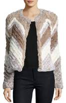 Bagatelle Chevron-Stripe Faux-Fur Jacket, Multi Beige/Tan