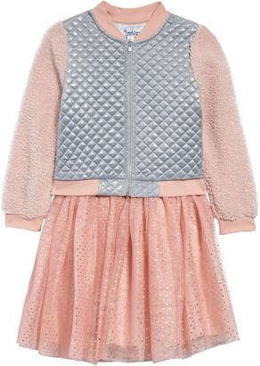 Pippa & Julie Kids' Faux Shearling Bomber Jacket & Dress Set