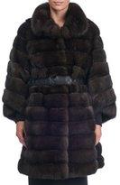 Maurizio Braschi Seamed Sable Fur Stroller Coat with Belt