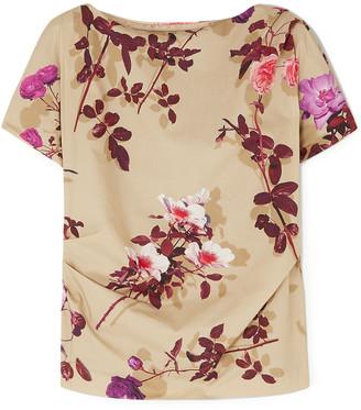 Dries Van Noten Cerus Gathered Floral-print Cotton-poplin Top