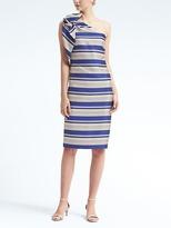 Banana Republic One-Shoulder Bow Stripe Dress