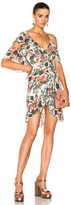 Nicholas Wrap Mini Dress in Floral,Green,White.