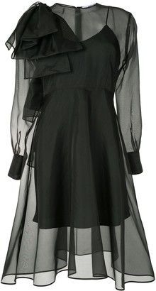 MSGM Bow Detail Semi-Sheer Dress