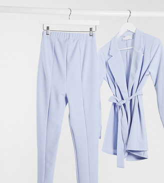 ASOS DESIGN Maternity jersey over bump slim suit trousers in pale blue