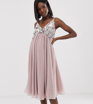 Asos DESIGN Maternity cami midi dress with pearl and embellished crop top bodice-Pink
