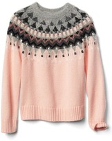 Gap Shimmer fair isle crew sweater