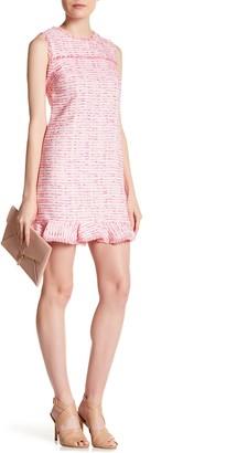 Cynthia Steffe Brie Clipped Tweed Ruffle Hem Dress