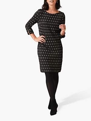 Phase Eight Halima Spotted Stripe Dress, Black