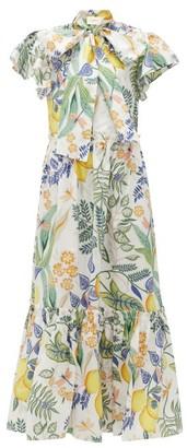 La DoubleJ Lou Lou Floral-print Cotton-poplin Dress - Womens - White Print