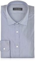 Forzieri Blue Striped Cotton Blend Slim Fit Shirt