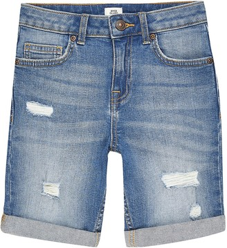 River Island Boys blue rip Dylan slim fit shorts
