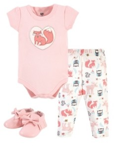 Hudson Baby Girls Cotton Bodysuit, Pant and Shoe Set