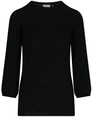 Saint Laurent Shimmering Lame Rib-Knit Sweater