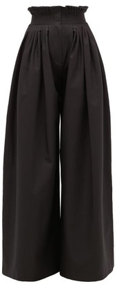 Vika Gazinskaya Pleated High-rise Cotton Wide-leg Trousers - Black