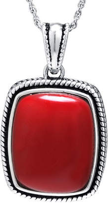 FINE JEWELRY Simulated Red Jasper Sterling Silver Rectangular Pendant Necklace